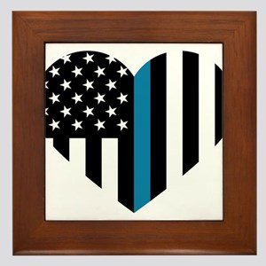 Thin Blue Line American Flag Heart Framed Tile