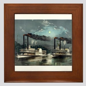 A midnight race on the Mississippi - 1890 Framed T