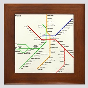 Boston Rapid Transit Map Subway Metro Framed Tile