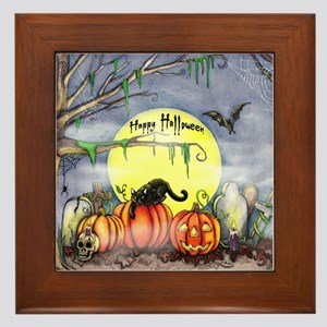 Halloween Scene Framed Tile