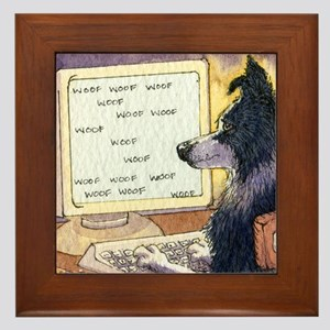 Border Collie dog writer Framed Tile