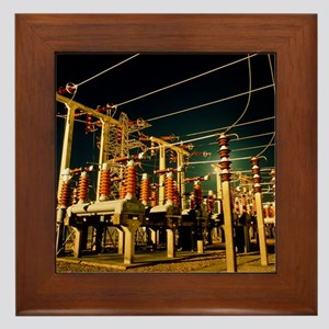 Electricity substation at night Framed Tile
