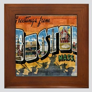 Greetings from Boston Framed Tile