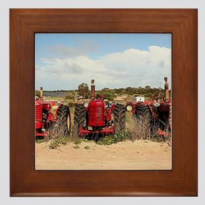 Old farm tractors machinery in country Framed Tile