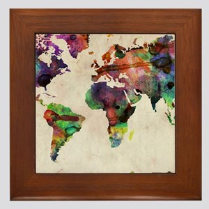 World Map Urban Watercolor 14x10 Framed Tile
