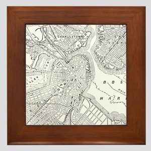 Vintage Map of Boston (1878) Framed Tile