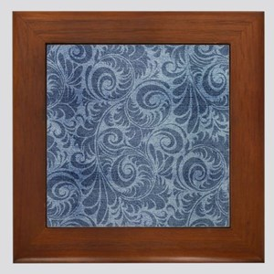 Blue Floral Denim Framed Tile