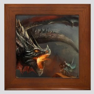 Dragon and Knight Framed Tile