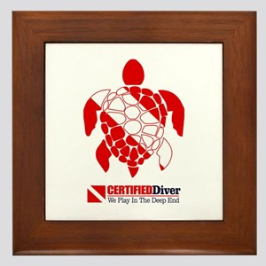 Turtle Dive Flag Framed Tile
