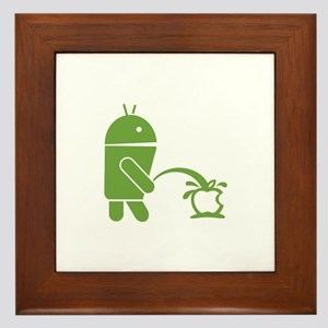 Android pissing on Apple. Framed Tile