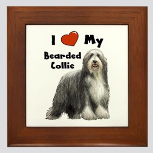 I Love My Bearded Collie Framed Tile