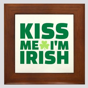 Kiss me I'm Irish shamrock Framed Tile