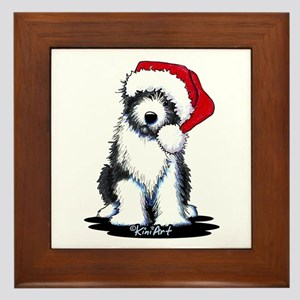 Bearded Collie Santa Framed Tile