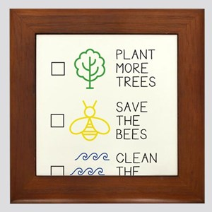 Plant More Trees - Save The Bees - Cle Framed Tile