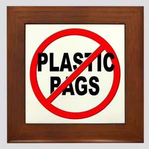Anti / No Plastic Bags Framed Tile