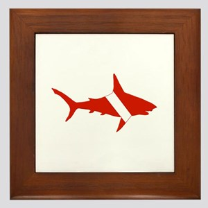Shark Diver Framed Tile