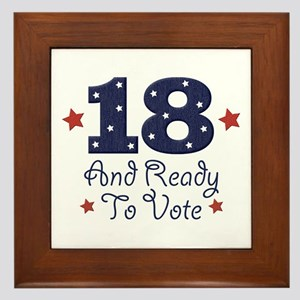 18 And Ready To Vote Framed Tile