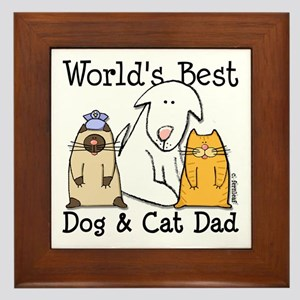 World's Best Dog and Cat Dad Framed Tile