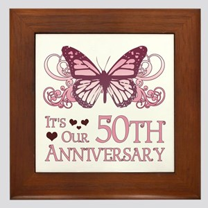 50th Wedding Aniversary (Butterfly) Framed Tile
