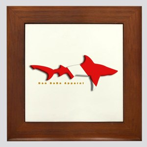 Shark Diving Flag Framed Tile
