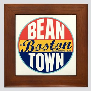 Boston Vintage Label W Framed Tile