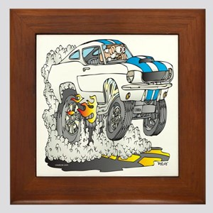 Creekrat_CARtoons_Shelby_Mustang_Tee c Framed Tile