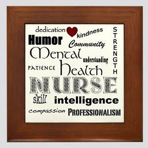 Mental Health Nurse Black-red heart Framed Tile