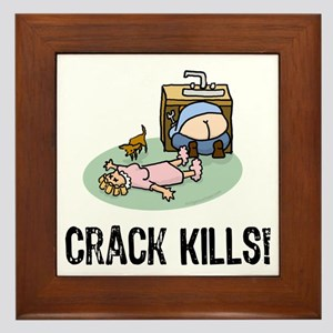 Crack kills! funny Framed Tile