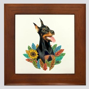 Leaves2-Doberman Pinscher Framed Tile