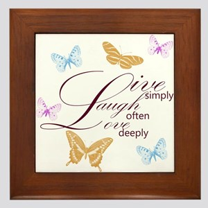 Live, Laugh, Love Simply Butterflies Framed Tile