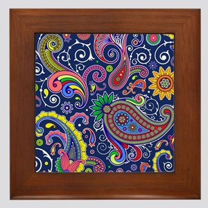 colorful paisley Framed Tile