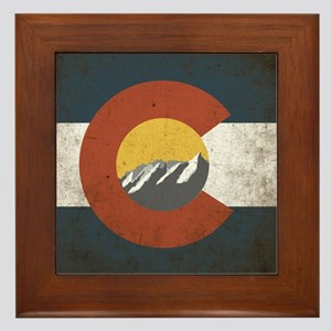 Colorado State Mountains Framed Tile