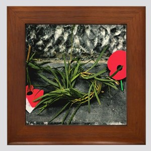 Wreath and ANZAC Day Poppies Framed Tile