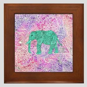 e22b893c Teal Tribal Paisley Elephant Purple He Framed Tile