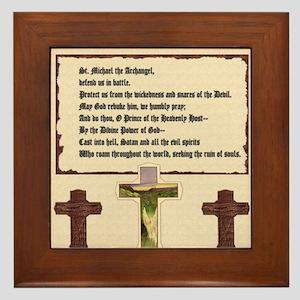 Prayer To St  Michael The Archangel Framed Tiles - CafePress