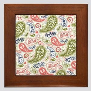 Sweet Caroline Heart Paisley Pattern Framed Tile
