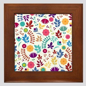 Cute Whimsical Floral Boho Chic Framed Tile