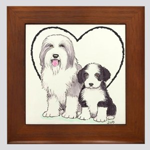 Bearded Collies Framed Tile