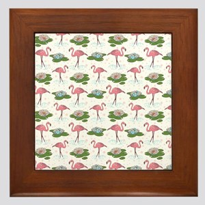 Flamingoes and Water Lilies Framed Tile