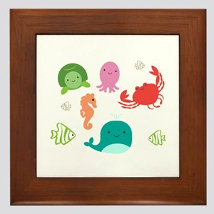 Save Sea Critters Please Don't Lit Framed Tile