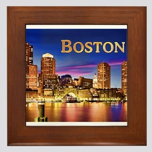 Boston Harbor at Night text BOSTON cop Framed Tile