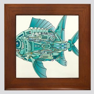 Robot Fish Framed Tile