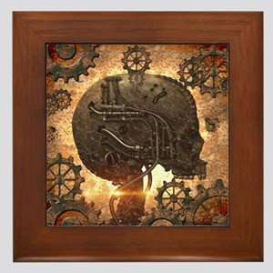 Awesome Steampunk Skull With Gears Framed Tile