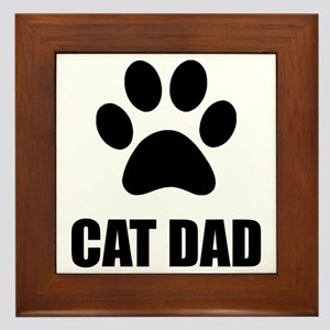 Cat Dad Paw Framed Tile