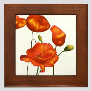 Poppies (orange) Framed Tile