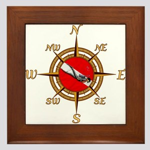 Dive Compass Framed Tile