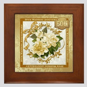 Floral Gold 50th Wedding Anniversary Framed Tile