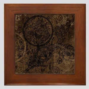 Steampunk Submarine Wall Art 12 00 17 65 Clockwork Collage Brown Framed Tile