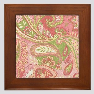Baby Pink Paisley Watercolor Framed Tile