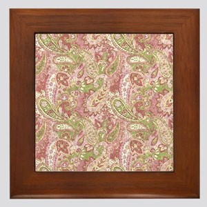 Baby Pink Watercolor Paisley 2 Framed Tile